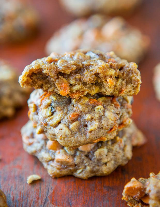 Soft and Chewy Spiced Carrot Cake Cookies (not cakey!) averiecooks.com
