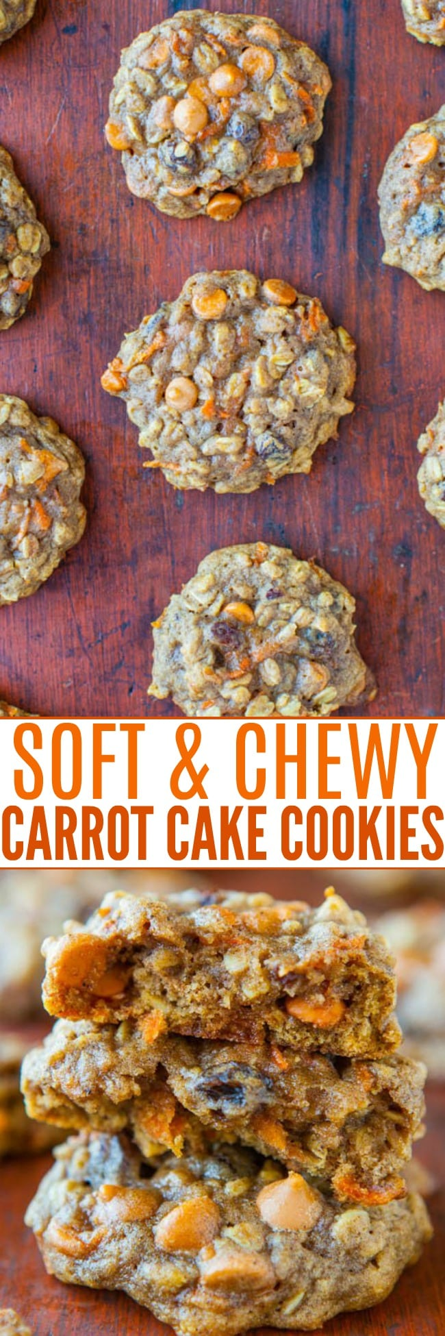 Spiced Carrot Cake Cookies — All the flavors of richly spiced carrot cake, but in cookie form! Soft, chewy, extremely moist, and not at all cakey!