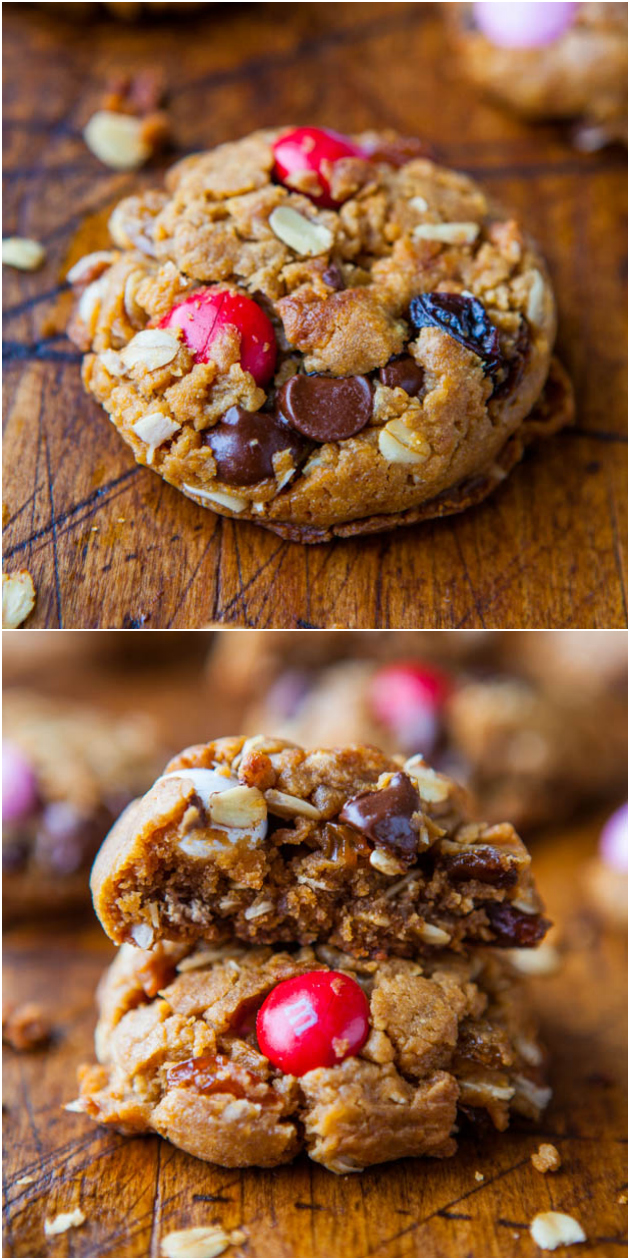 Trail Mix Peanut Butter Cookies (GF) - NO Butter & NO Flour in these healthier cookies with trail mix baked right in!