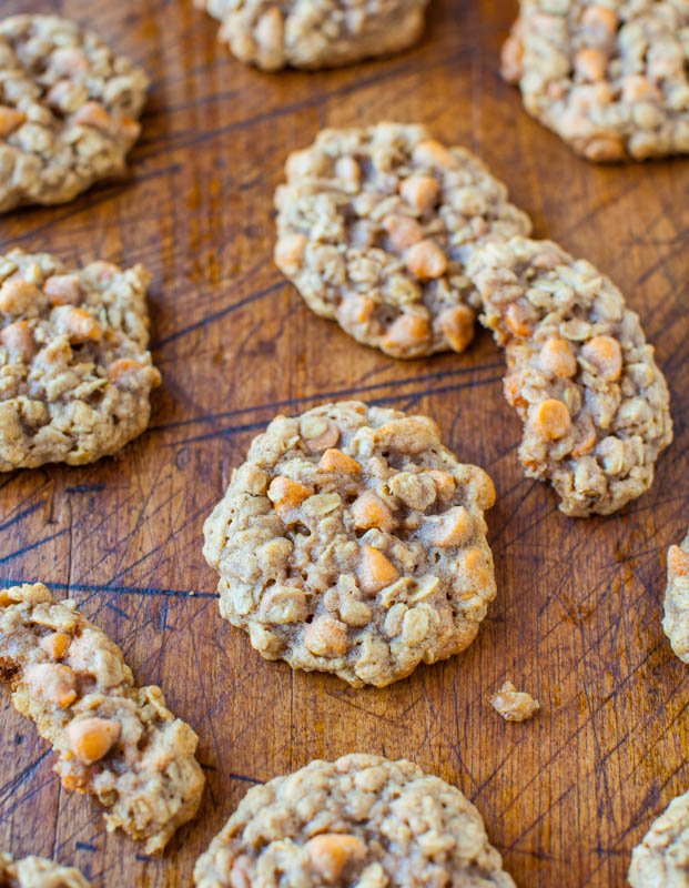 Soft and Chewy Oatmeal Scotchies Cookies averiecooks.com