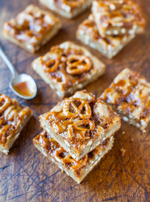 Salted Caramel Pretzel Blondies averiecooks.com