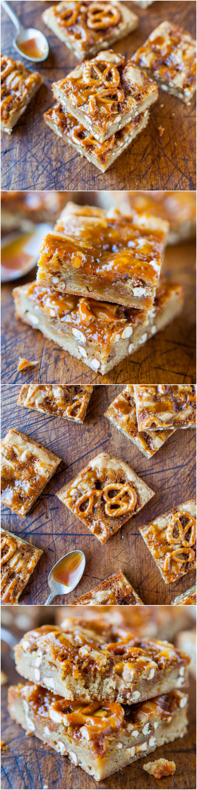 Salted Caramel Pretzel Blondies - Soft, crunchy, chewy, salty-and-sweet. Something for everyone in these easy blondies! Recipe at averiecooks.com
