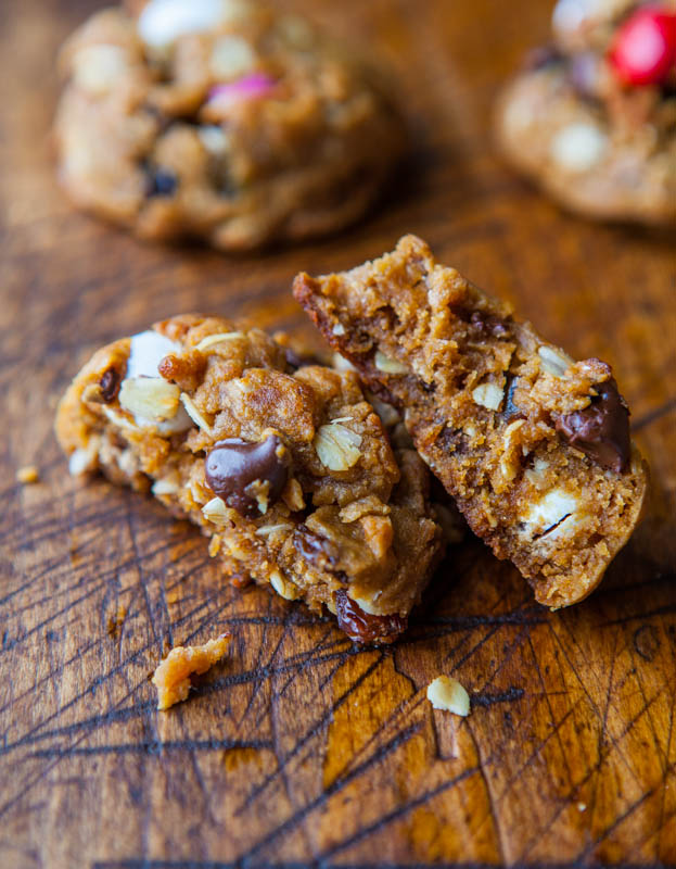 Trail Mix Peanut Butter Cookies (GF) averiecooks.com