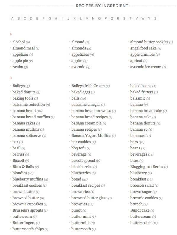 Recipe Index page