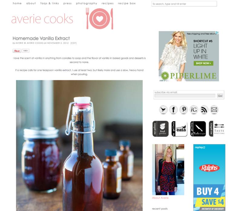 screenshot of vanilla extract page on website