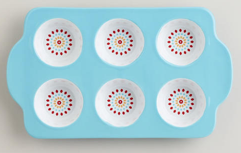Ceramic Muffin Pan, $14.99 from World Market in Aqua or Yellow