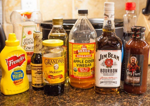 ingredients for bourbon baked beans lined up on countertop