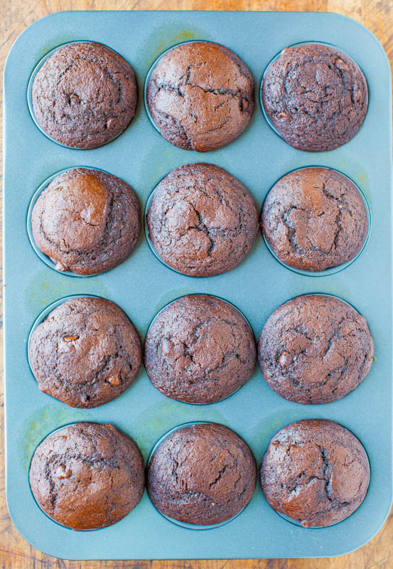 Chocolate Lover's Chocolate Chocolate-Chip Muffins with Nutella averiecooks.com