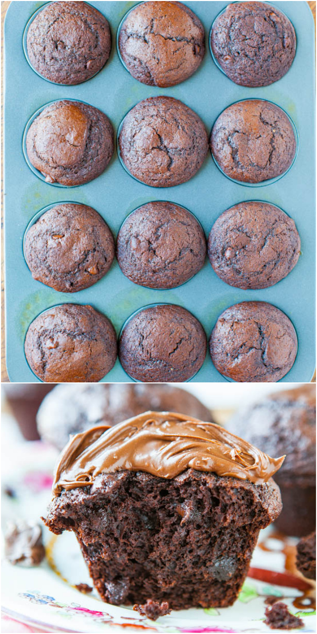 Chocolate Lover's Chocolate Chocolate-Chip Muffins with Nutella - Chocolate for breakfast sounds like a good idea to me!