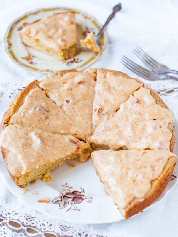 French Almond Cookie Cake with Apricot Cream Cheese Glaze averiecooks.com