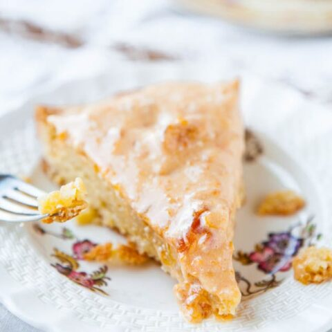 French Almond Cookie Cake with Apricot Cream Cheese Glaze