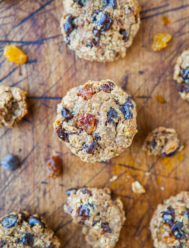 Healthy Oatmeal Chocolate Chip Cookies on cutting board