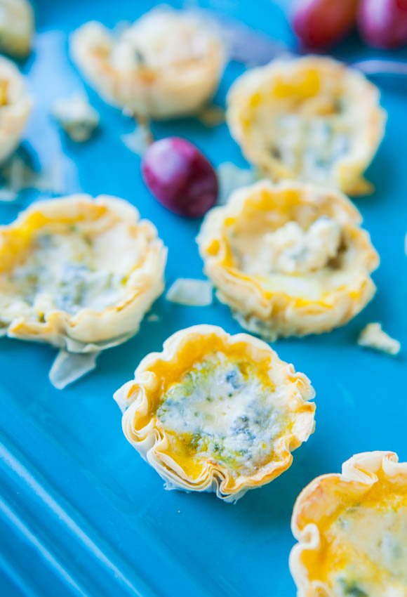Mini Blue Cheese Quiche in Phyllo Cups averiecooks.com