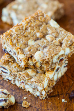 Browned Butter Oatmeal Raisinet White Chocolate Bars