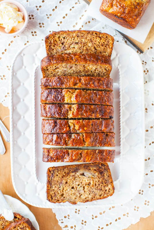 Six-Banana Banana Bread — Not sure what to do with overripe bananas you have on hand? Make this Six-Banana Banana Bread! This is the best banana bread recipe EVER — it's so moist and flavorful!