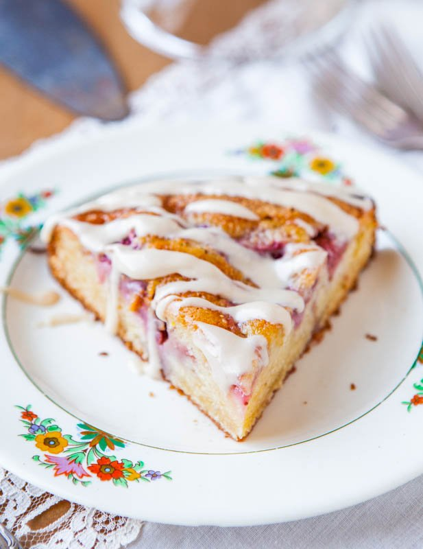 Strawberries and Cream Coffee Cake with Vanilla Cream Cheese Glaze averiecooks.com