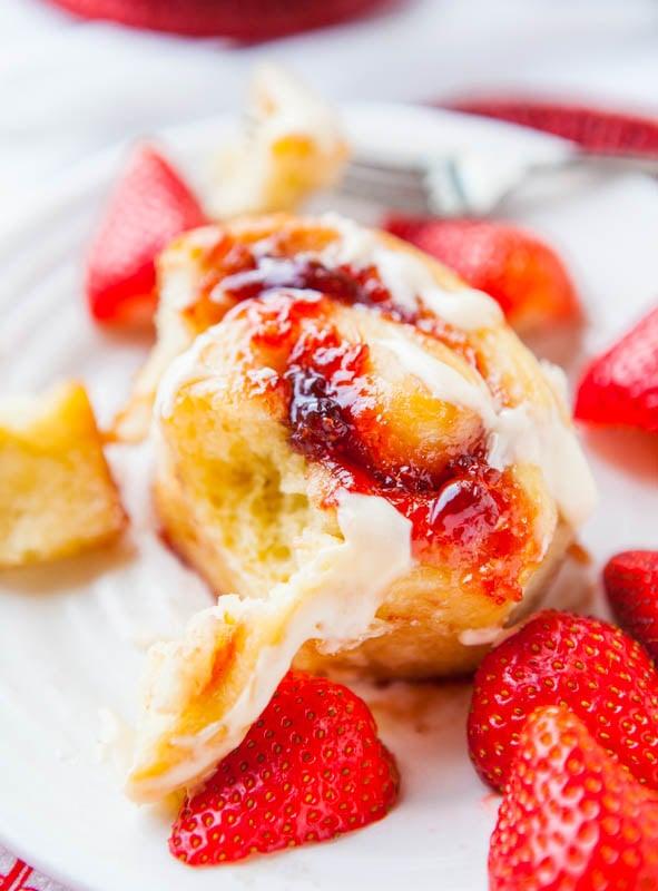 Strawberry Sweet Rolls with Vanilla Cream Cheese Glaze averiecooks.com