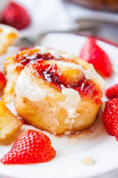 Strawberry Sweet Rolls with Vanilla Cream Cheese Glaze