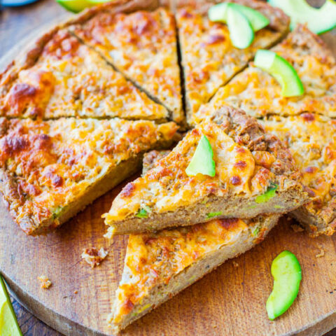 30-Minute Cheesy Avocado Skillet Pizza Bread (Whole-Wheat and Vegan)