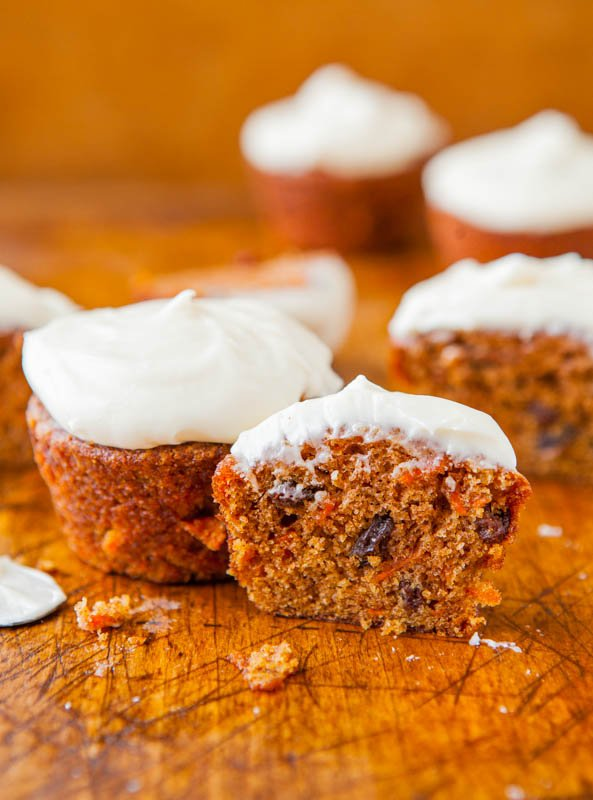Carrot Cake Cupcakes with Vanilla Cream Cheese Frosting - Recipe at averiecooks.com