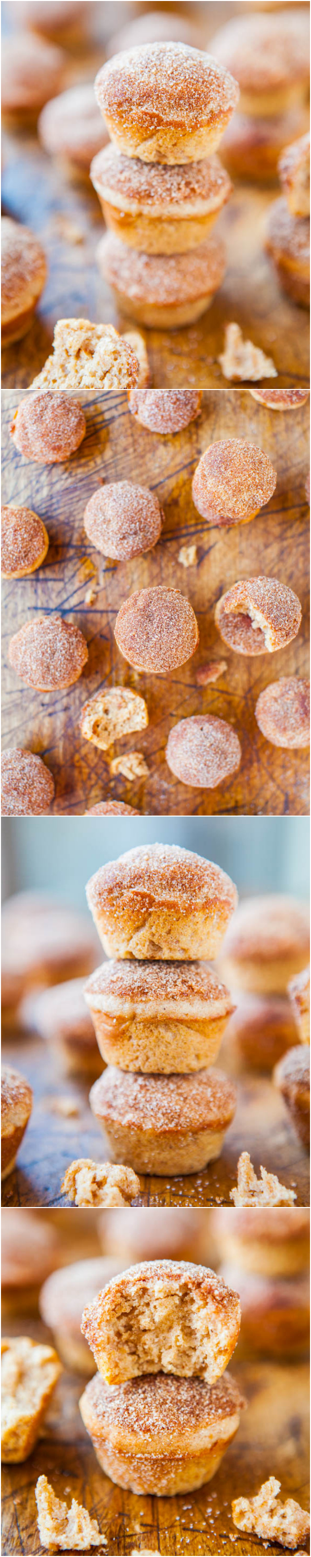 Cinnamon Sugar Mini Donut Muffins - Muffins that taste like decadent mini donuts! (But they're baked and way healthier!)