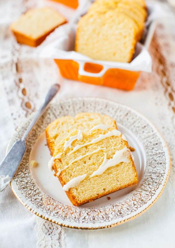 Mini Cream Cheese Pound Cakes with Vanilla Cream Cheese Glaze - Recipe at averiecooks.com
