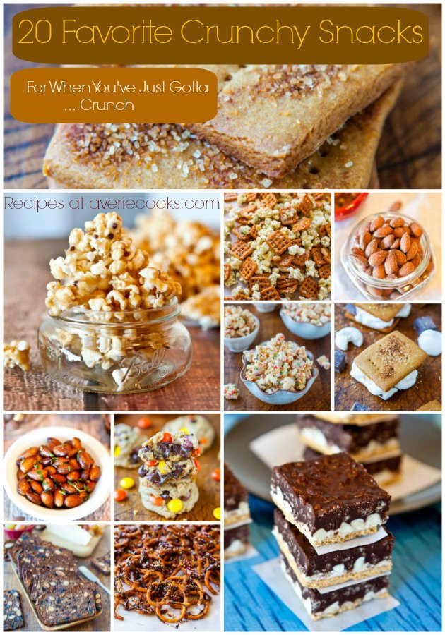 Pic collage of 20 Favorite Crunchy Snacks