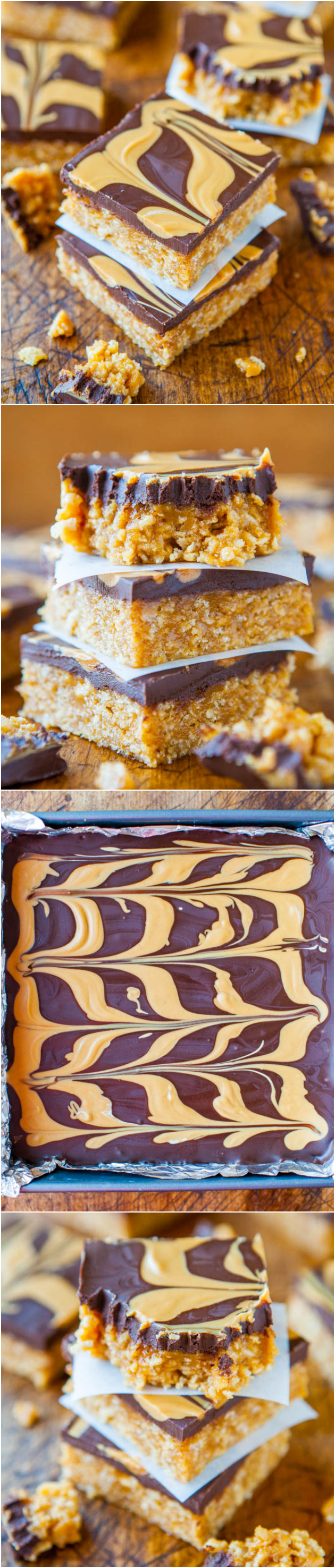 Chewy Peanut Butter and Chocolate Cereal Bars (no-bake, vegan, gluten-free) - These soft & chewy bars are packed with PB & topped with chocolate and more PB for all the peanut butter lovers! Easy recipe at averiecooks.com