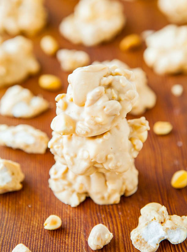White Chocolate Peanut Butter Cookie Clusters (no-bake) Recipe at averiecooks.com