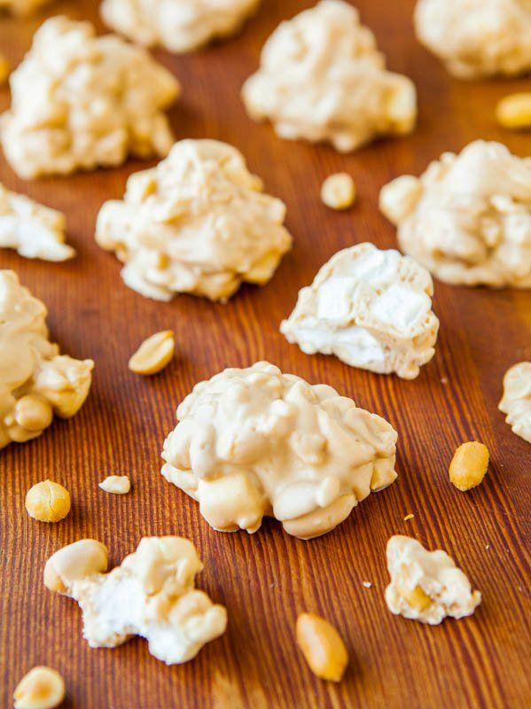 White Chocolate Peanut Butter Cookie Clusters (no-bake, gluten-free) Recipe at averiecooks.com