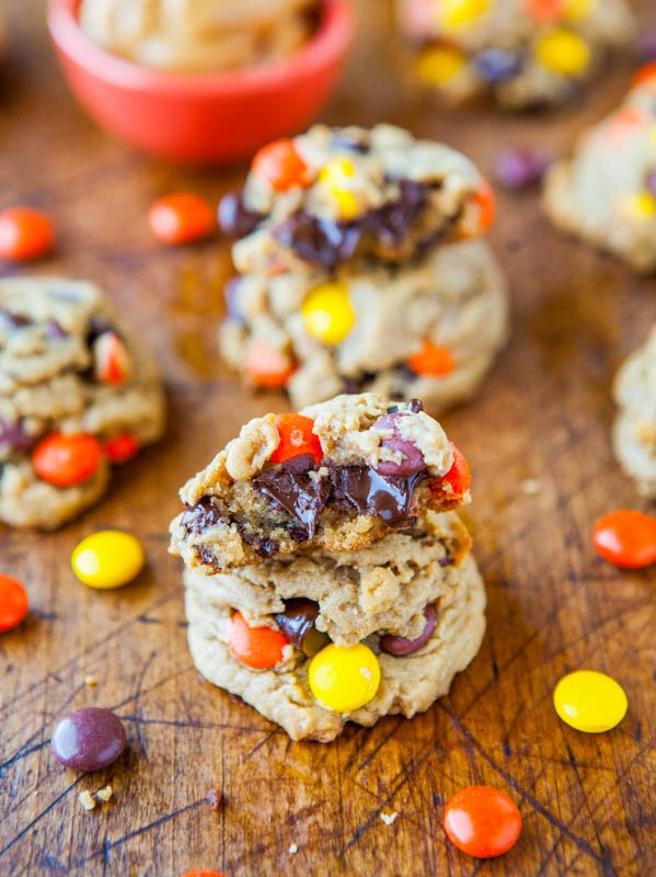 two stacks of Reese's Pieces peanut butter cookies