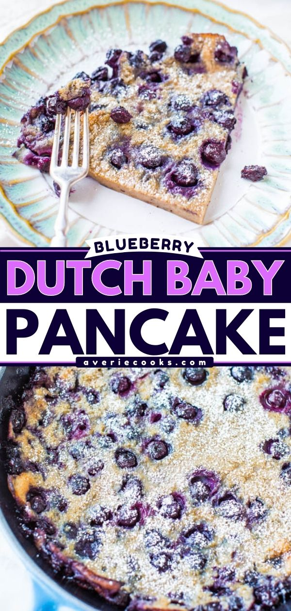 Blueberry Dutch Baby Pancake Recipe— This oven-baked pancake has the chewiness of crepes with the thickness of clafoutis, and making it is as easy as making pancake batter! Because it's baked, there's no need to stand around flipping pancakes!