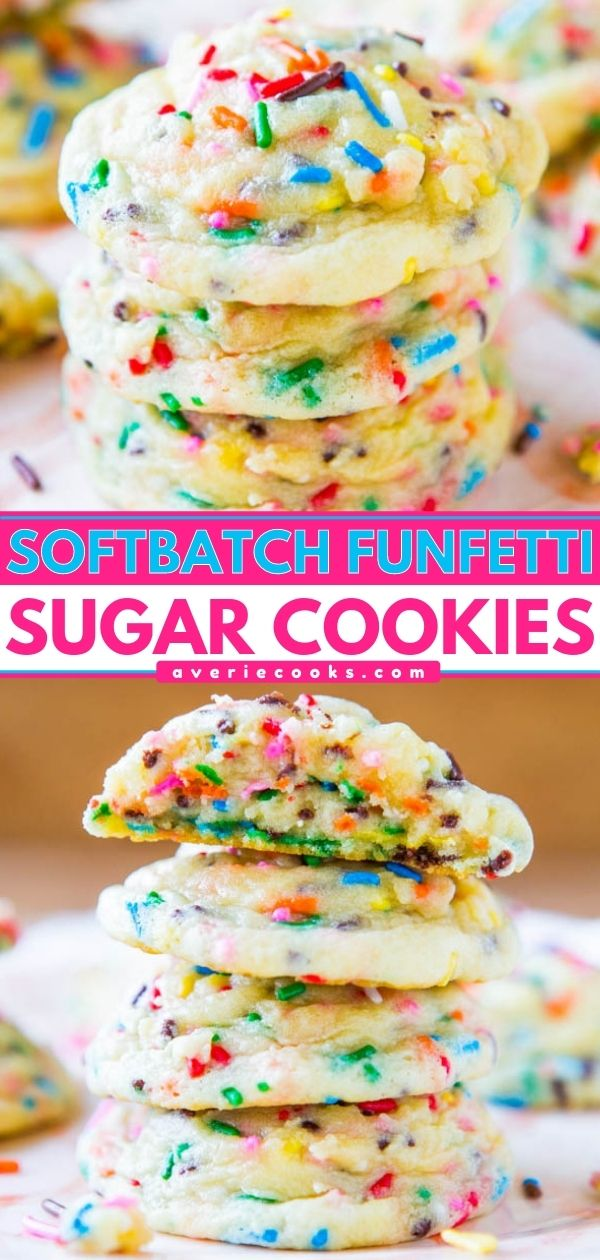 Funfetti Cookies — These funfetti cookies are essentially sugar cookies from scratch that have been loaded with sprinkles. They have that nostalgic boxed cake flavor but are 100% homemade!