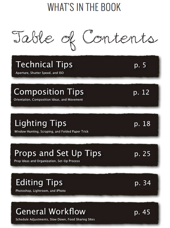 Table of contents Tasty Food Photography ebook