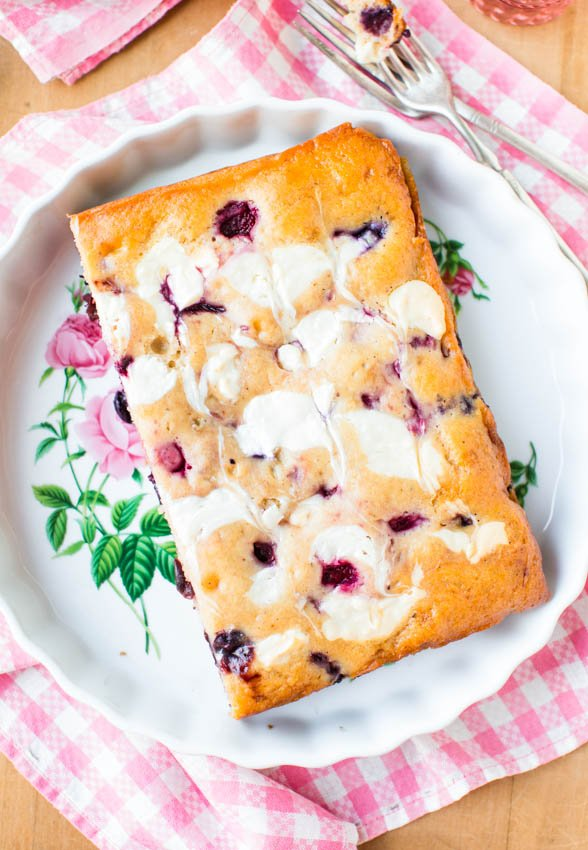 Cream Cheese-Swirled Mixed Berry Cake — No mixer is needed for this easy mixed berry cake, which is as simple as making muffins! A mix of fresh or frozen fruit can be used, perfect for using up what's seasonal or what you have on hand.