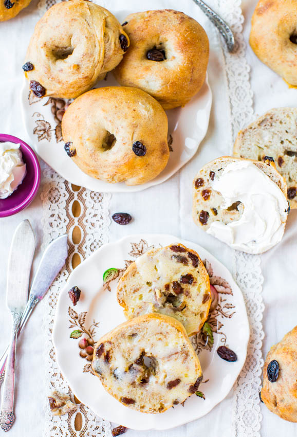 Easy Homemade Cinnamon Raisin Bagels - Recipe at averiecooks.com