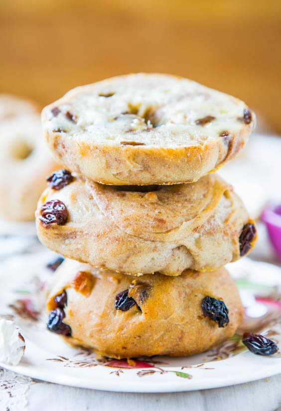 Easy Homemade Cinnamon Raisin Bagels - Averie Cooks
