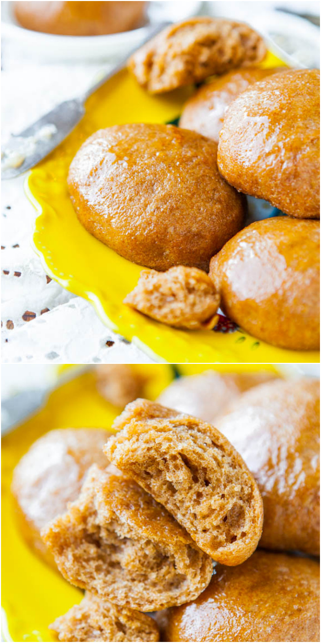 100% Whole Wheat No-Knead Make Ahead Dinner Rolls with Honey Butter - You'd never guess they're made entirely with whole wheat flour based on how soft, light & fluffy they are! If you've been searching for a whole wheat roll recipe, this is the one!