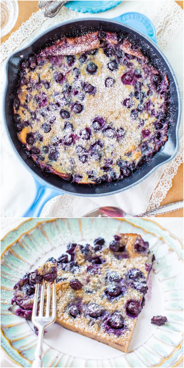 Blueberry Dutch Baby Pancake - Never be a slave to flipping pancakes again! Make one big one & bake it! So easy & just packed with juicy blueberries!