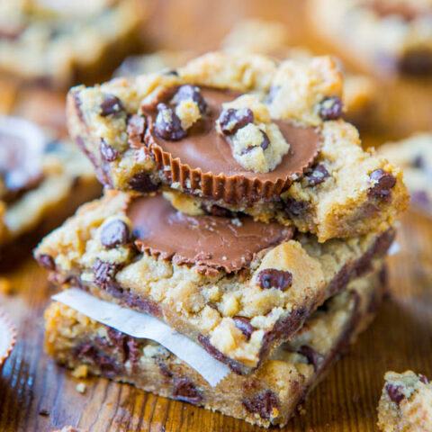 Easy Chocolate Chip Cookie Bars (with PB Cups!)