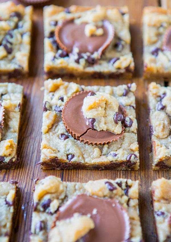 TTwo-Ingredient Peanut Butter Cup Chocolate Chip Cookie Dough Bars (GF) - The easiest bars ever and no one will ever guess it! So good!