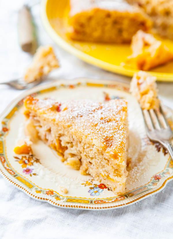 Peaches and Cream Fluffy Muffin Cake - Recipe at averiecooks.com