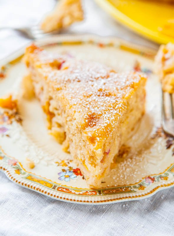 Peaches and Cream Cake— This cake tastes like one big, soft, fluffy, peach muffin. It's ridiculously moist, tender, and falling-apart soft!