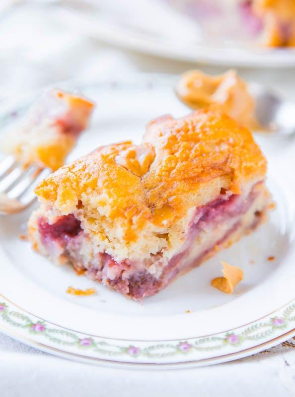 Peanut Butter-Swirled Strawberry Cake - Easy Recipe at averiecooks.com