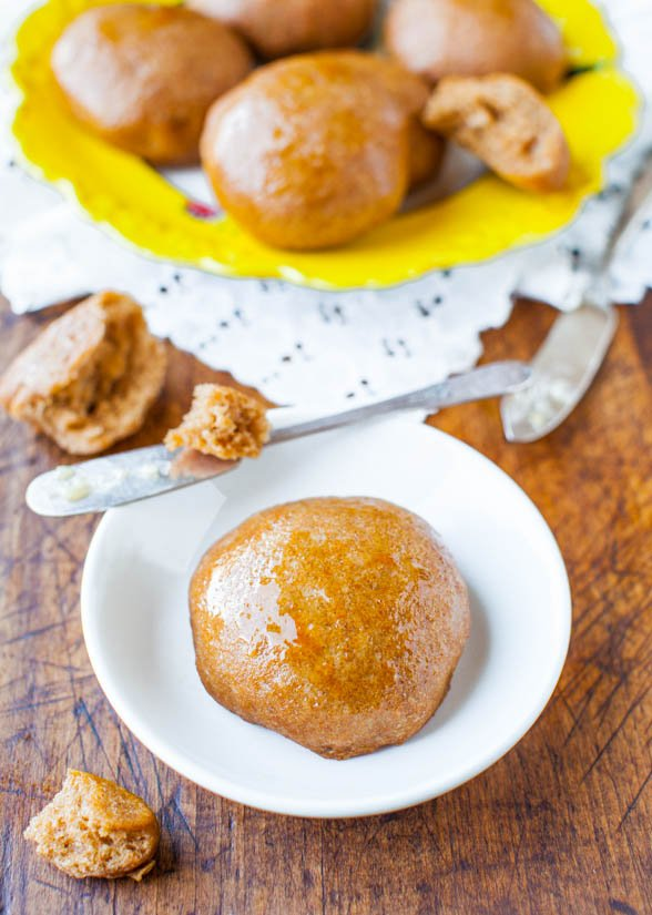 100% Whole Wheat No-Knead Make Ahead Dinner Rolls with Honey Butter - Recipe