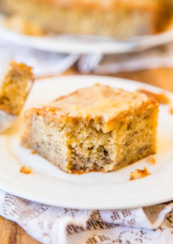 Browned Er Glaze Soaked Greek Yogurt Banana Cake Easy No Mixer Recipe At