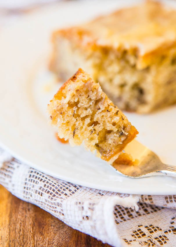 Browned Butter Glaze Soaked-Greek Yogurt Banana Cake - Easy No-Mixer Recipe at averiecooks.com