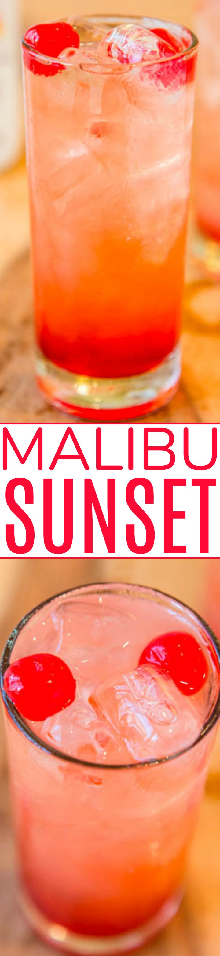 Malibu Sunset: A fun, fruity, easy Malibu drink recipe!! Because there's really no wrong way to do pineapple, orange juice, coconut rum, grenadine, and cherries! If you've never had this fruity alcoholic drink, you should change that!!