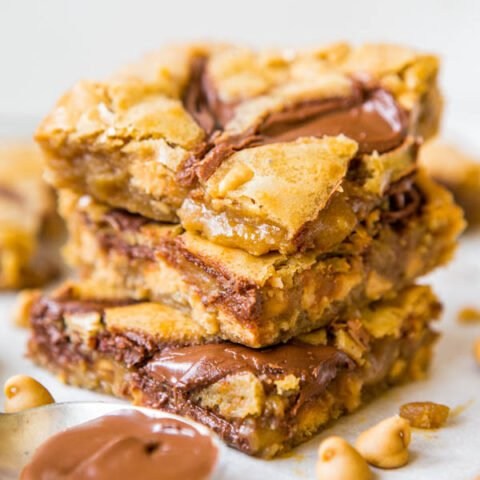 Nutella-Swirled Peanut Butter Chip Blondies