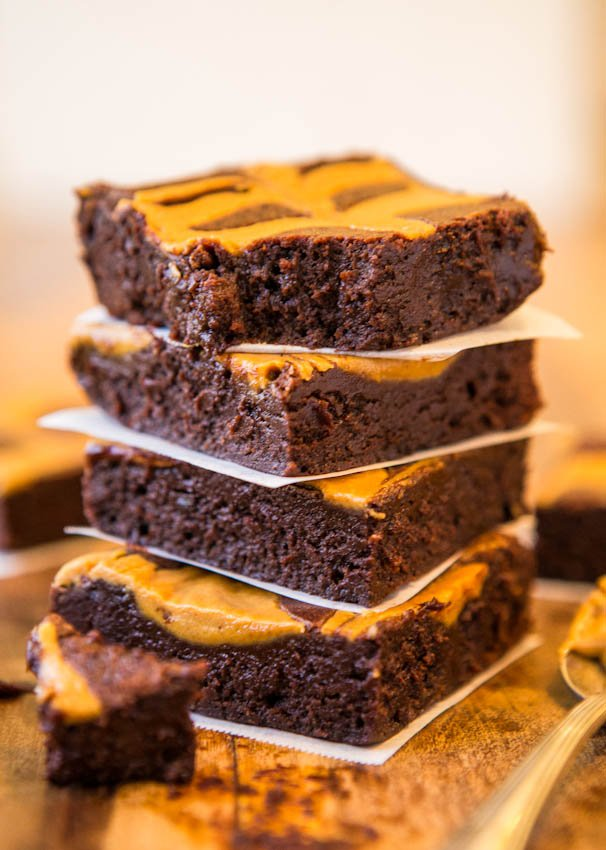 Peanut Butter-Swirled Fudgy Brownies - One Bowl Brownies & Easier Than A Mix at averiecooks.com